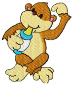 Monkey With Bottle Free Embroidery Design