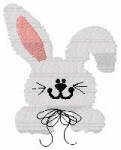 Bunny with Bow Pocket Topper Free Embroidery Design