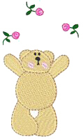 Bear With Flowers Free Embroidery Design