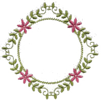 Leaf Frame with Flowers Free Embroidery Design