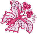 One Color Redwork Butterfly With Flowers Free Embroidery Design