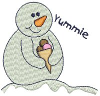 Snowman with Ice Cream Cone Free Embroidery Design