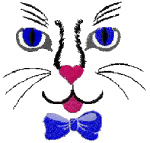 Cat Face With Bow Free Embroidery Design