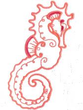 Redwork Seahorse Free Embroidery Design