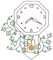 Clock With Ivy Free Embroidery Design