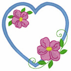 Heart with Flowers Free Embroidery Design
