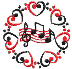 Music Notes With Hearts Free Embroidery Design