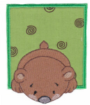 Bear In Applique Frame Free Embroidery Design