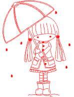 Girl With Umbrella Redwork Free Embroidery Design