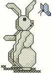 Cross Stitched Bunny & Butterfly Free Embroidery Design