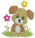 Puppy Dog With Flowers Free Embroidery Design