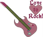 Love to Rock Guitar Free Embroidery Design