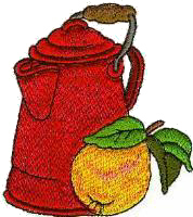 Coffee Pot & Pear Free Embroidery Design