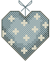 Cross Stitched Hanging Heart Free Embroidery Design