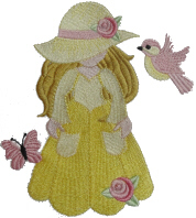Sunbonnet with Bird Free Embroidery Design