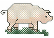 Cross Stitched Pig Free Embroidery Design