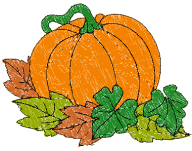 Pumpkin With Leaves Free Embroidery Design
