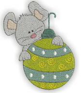 Mouse with Ornament Free Embroidery Design
