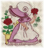 Sunbonnet with Roses Free Embroidery Design