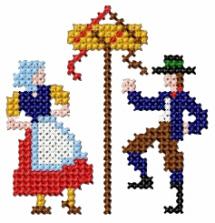 May Pole Cross Stitch Free Embroidery Design