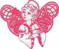 Girl Angel Topper Free Embroidery Design
