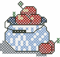 Apples In A Crock Cross Stitched Free Embroidery Design