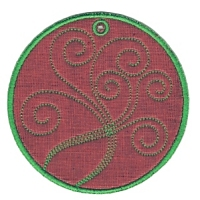 Made in the Hoop Curly Coaster Free Embroidery Design