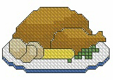 Turkey Dinner Cross Stitched Free Embroidery Design