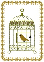 Bird in Cage Free Embroidery Design