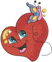Heart with Butterfly Free Embroidery Design