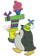 Party Penguin Free Embroidery Design