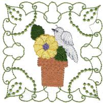 Bird on Flower Pot Free Embroidery Design