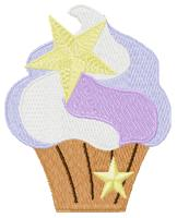 Cupcake With Star Free Embroidery Design