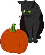 Cat & Pumpkin Free Embroidery Design